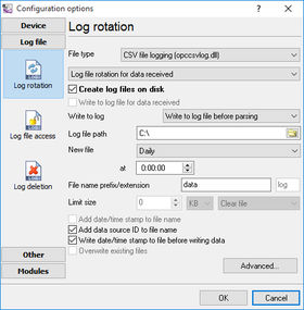 Data Logger. File Settings.